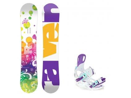 Dětský snowboard komplet Raven Lucy + vázání Starlet white/mint/violet