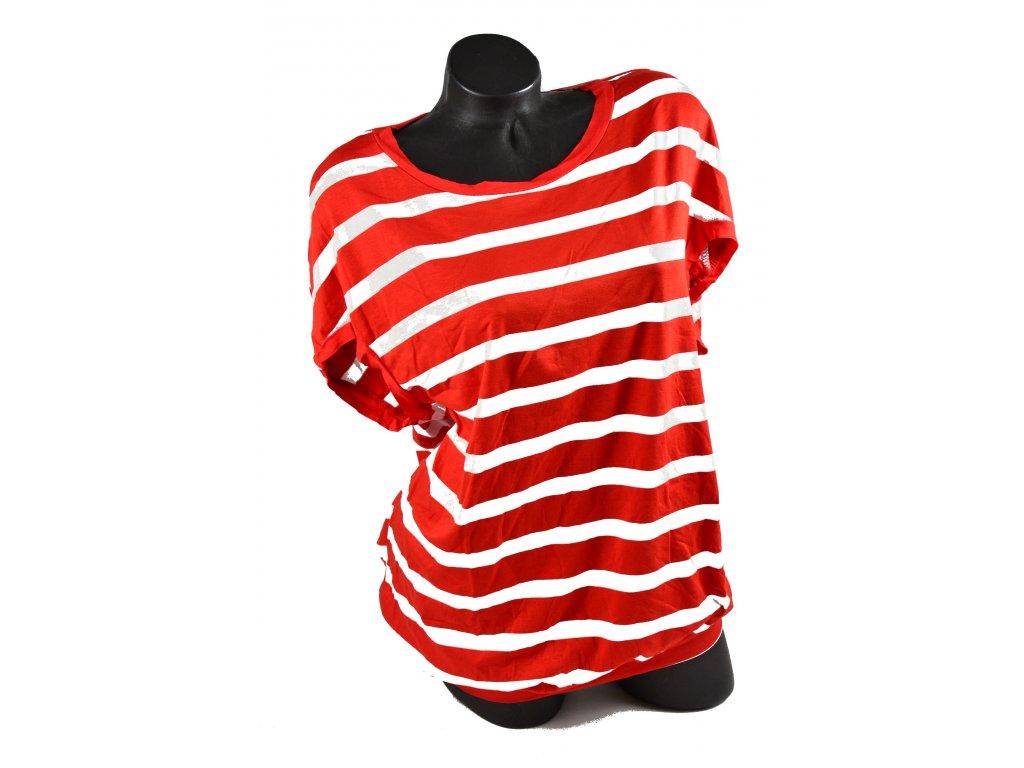 Letní triko, červené pruhy