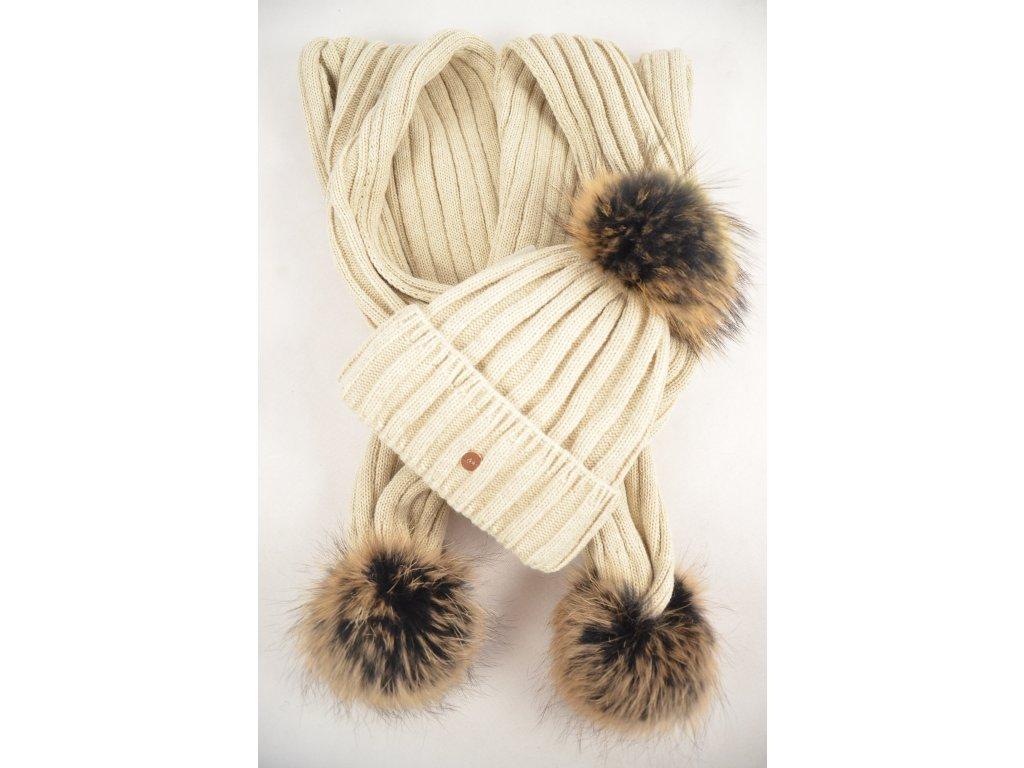 Pletený set s pravou maxi bambulí