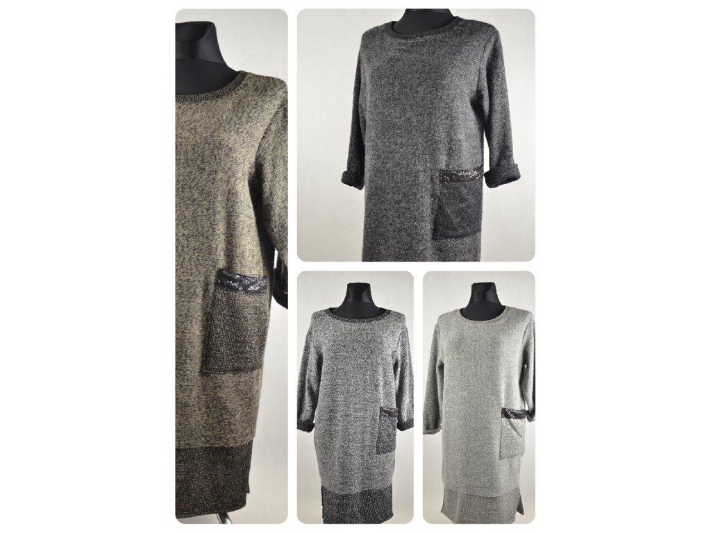 Pohodlné trendy,pletené šaty s kapsou