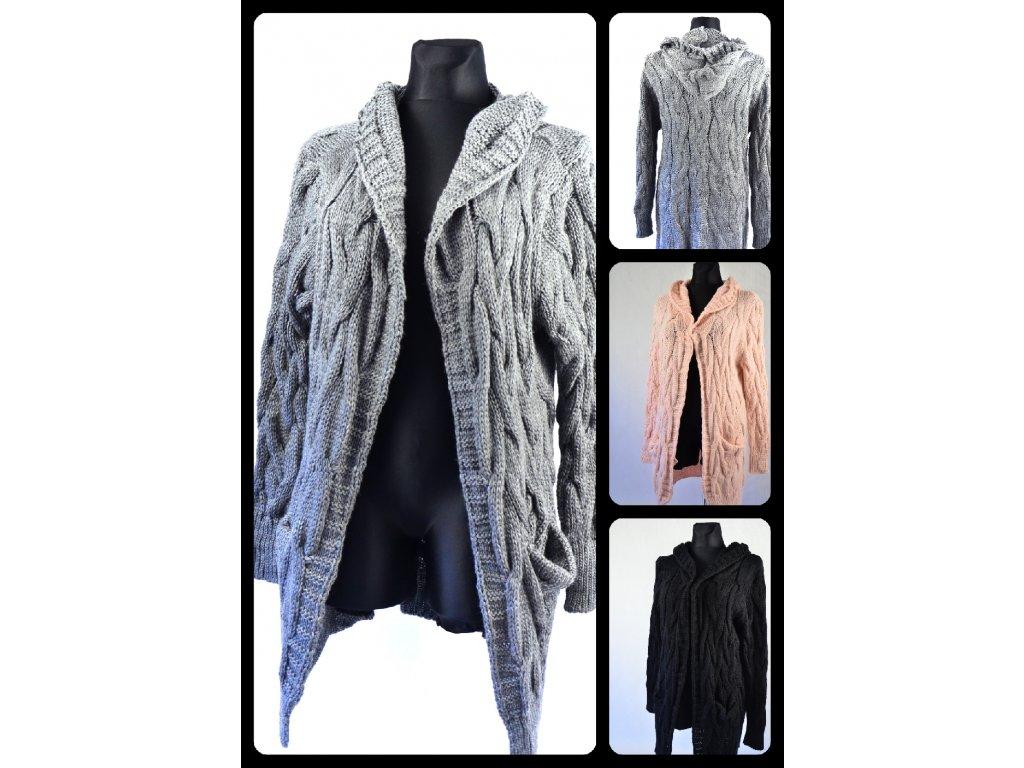 Pletený svetřík dlouhý s kapucí