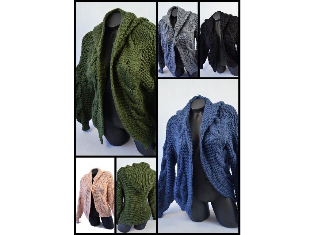 Luxusní pletený svetřík s kapucí