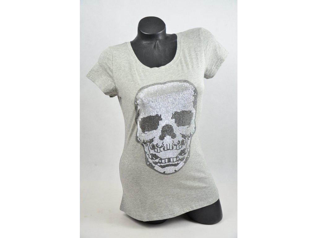 15f30a3ad5e ... LUXUSNÍ tričko s kamínky LEBKA (Barva Černá