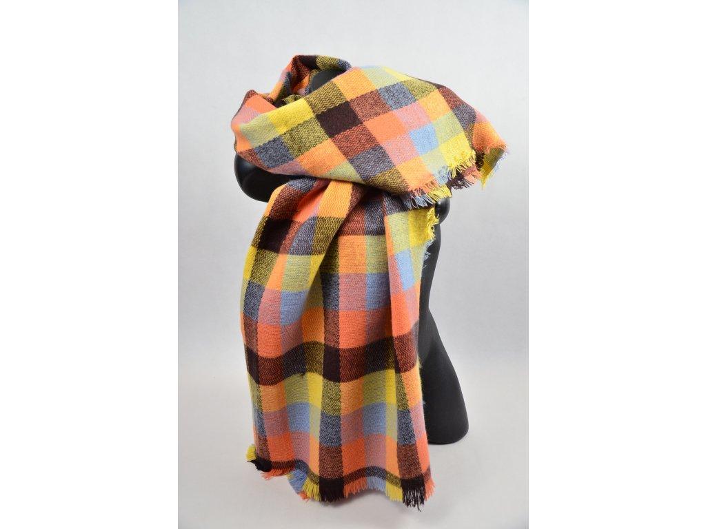 Teplý barevný šál (Barva Oranžová, Velikost UNI)
