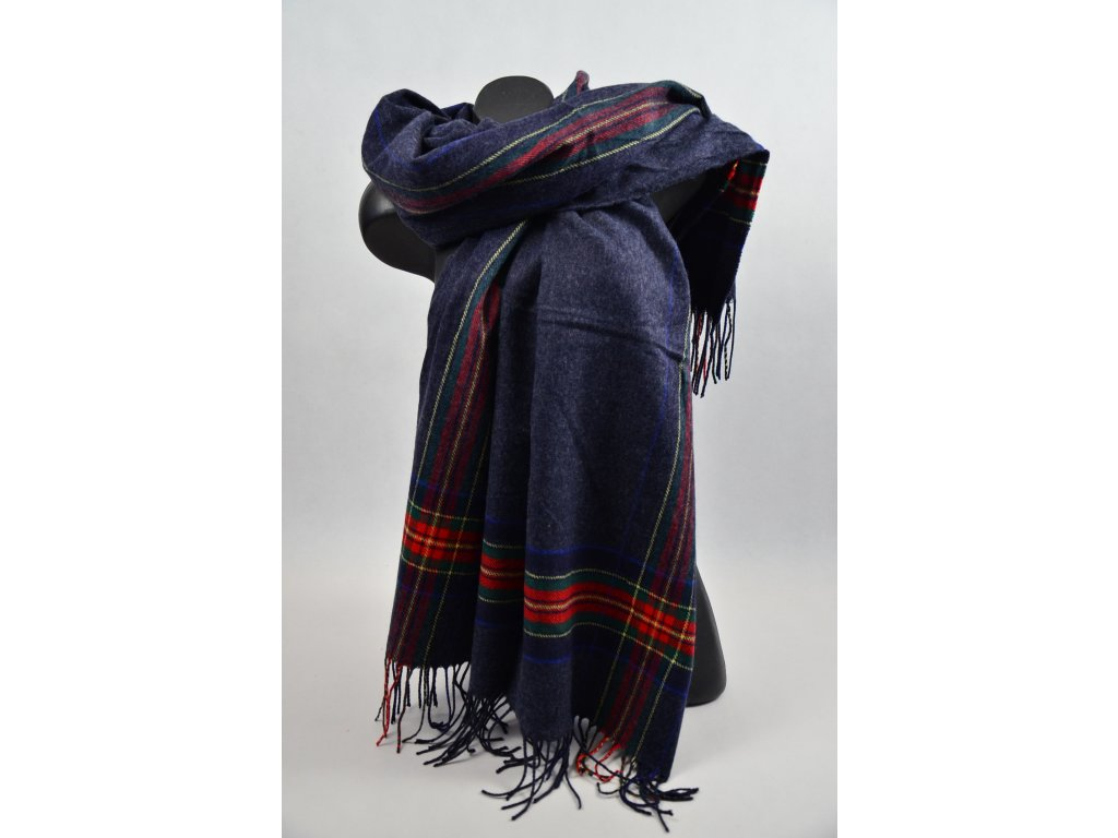 Luxusní Maxi Pléd - šátek (Barva Tmavě modrá, Velikost 200x97cm, materiál Bavlna)