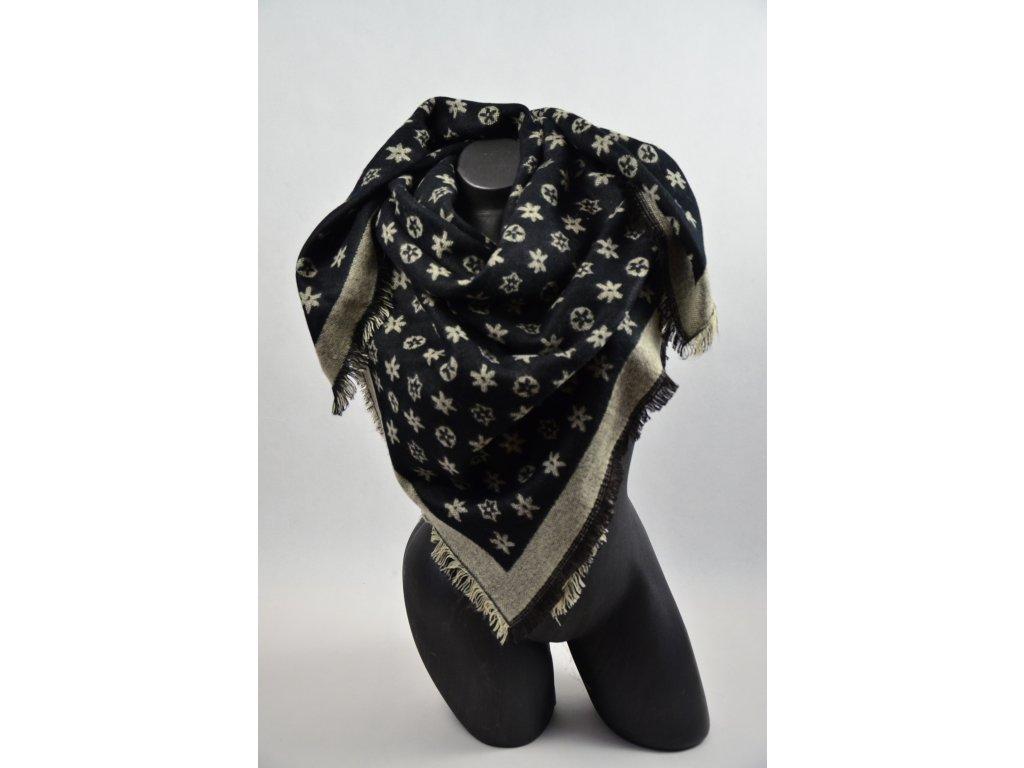 Zimní, teplý, maxi, šátek, (Barva Šedá, Velikost 140x140cm, materiál Bavlna s chloupkem)