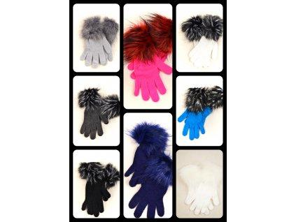 Pletené rukavice s kožešinkou