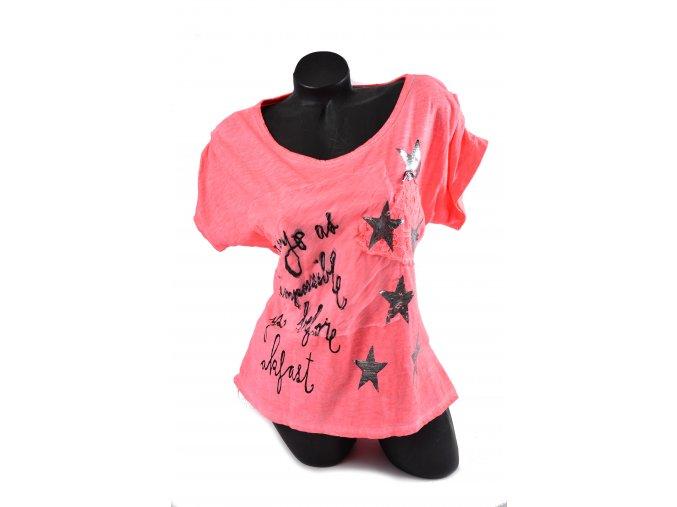 Letní triko potisk hvězdy (Barva Neon růžová, Velikost UNI)