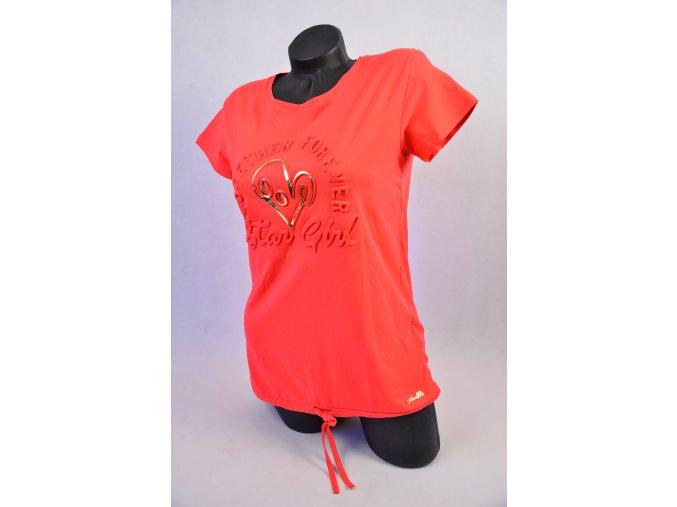 Módní triko se zlatým symbolem (Barva Světle růžová, Velikost UNI)