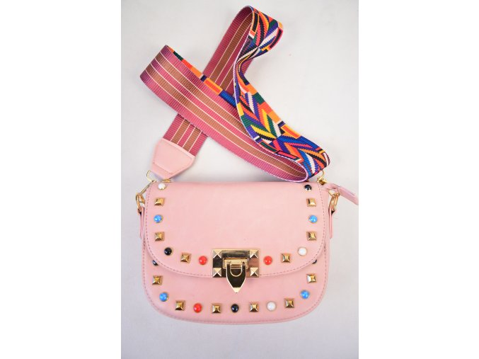 Kvalitně zpracovaná kabelka, barevný popruh.