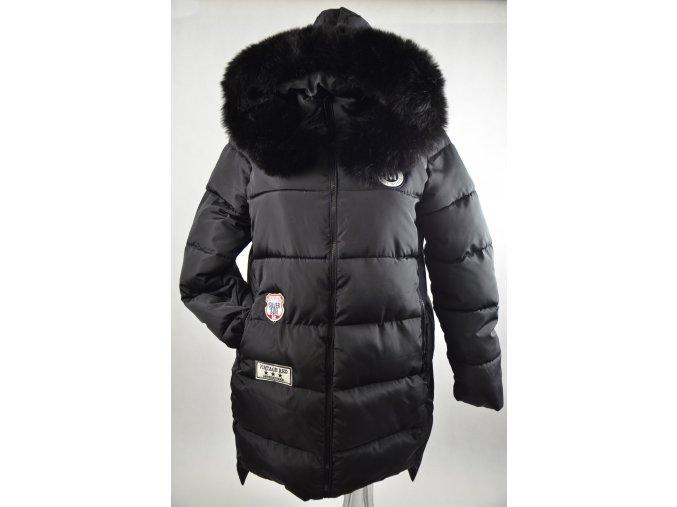 Luxusní černá bunda s kožešinou péřová (Barva Černá, Velikost XXXL)