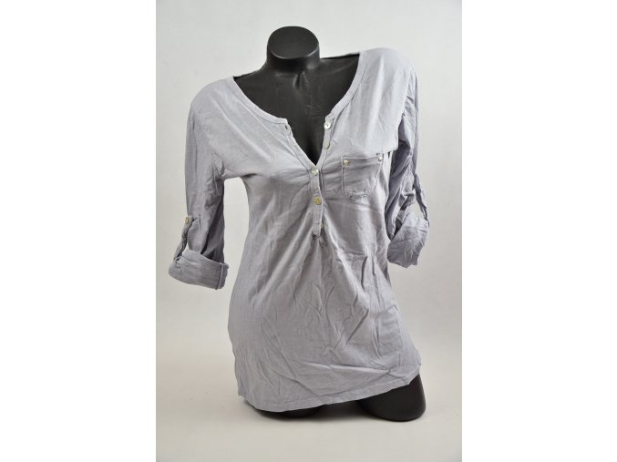 Bavlněné tričko s knoflíčkem rukáv roll up