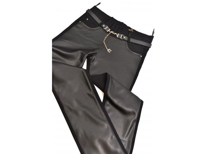 TOP kalhoty kombinované s koženkou (Barva Černá, Velikost 46)