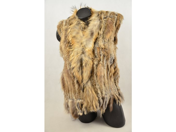 Kožešinová vesta - béžová, žíhaná