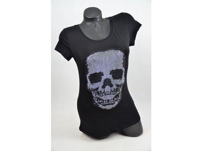 LUXUSNÍ tričko s kamínky LEBKA (Barva Černá, Velikost XL)