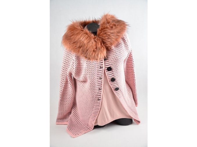 Svetřík s kapucí a kožešinou (Barva Růžová, Velikost UNI, materiál Plét)