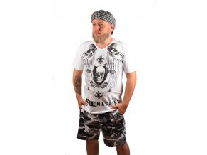 Bílé triko s potiskem a s černými kamínky (Barva Bílá, Velikost XXL)