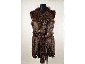Kožešinová vesta - Hnědá, dlouhá