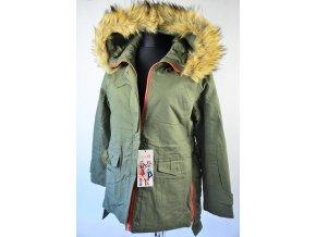 Khaki podzimní bunda s kapucí