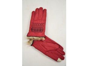 Luxusní rukavice s výšivkou a kožešinkou (Barva Hnědá, Velikost M)