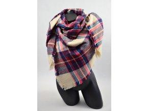 Luxusní Maxi Pléd - šátek (Barva Modro-červený, Velikost 140x140cm, materiál Bavlna s chloupkem)