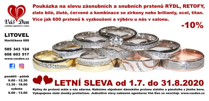 Letní sleva snubních prstenů, platná do 31.8.2020