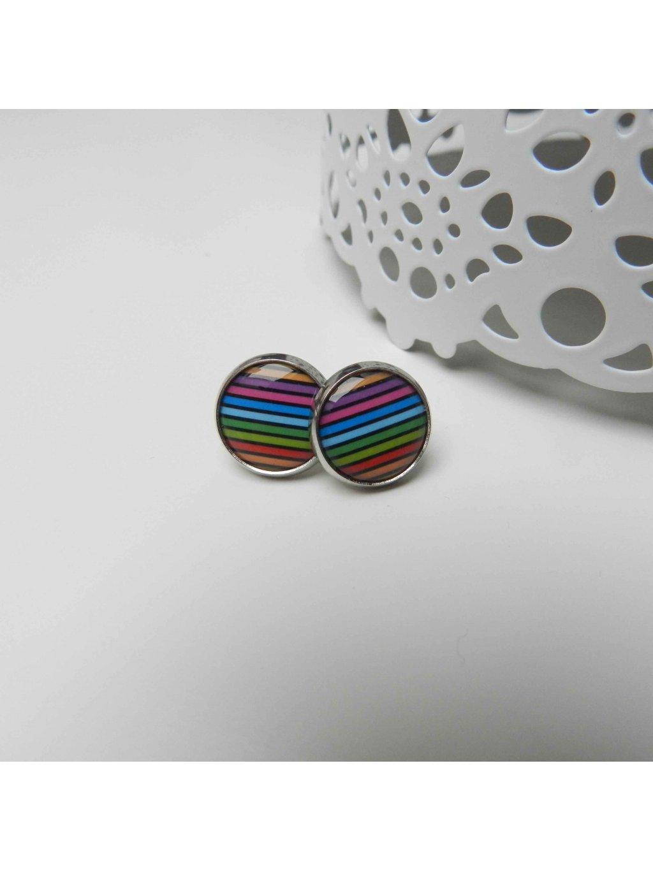 Náušnice pruhované barevné