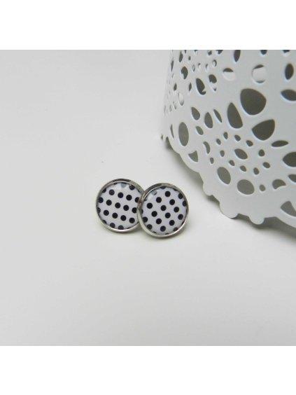 Náušnice puntíkované černobílé