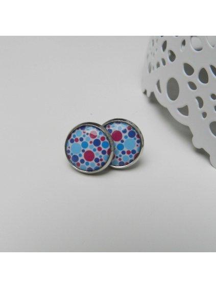 Náušnice Bubliny modro-růžové