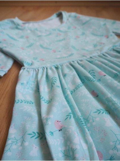 Šaty Maja - ptáčci na mintové, vel S