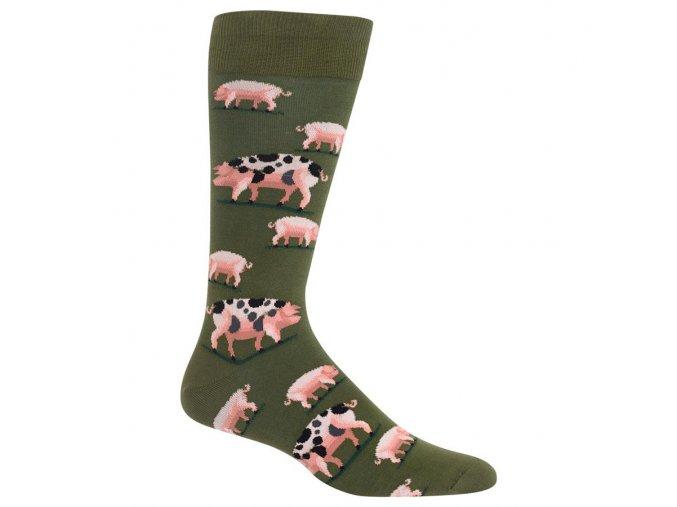 Hot Sox Men s Spotted Pig Crew Socks 047852232296