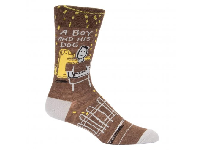 a boy and his dog mens socks blue q funny 2048x