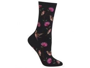 HOT SOX černé ponožky Hummingbirds DÁMSKÉ