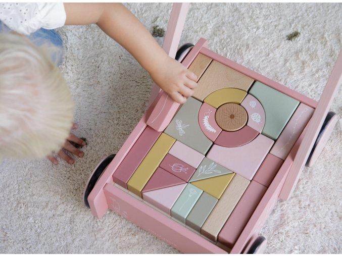 4414 Wooden baby walker pink