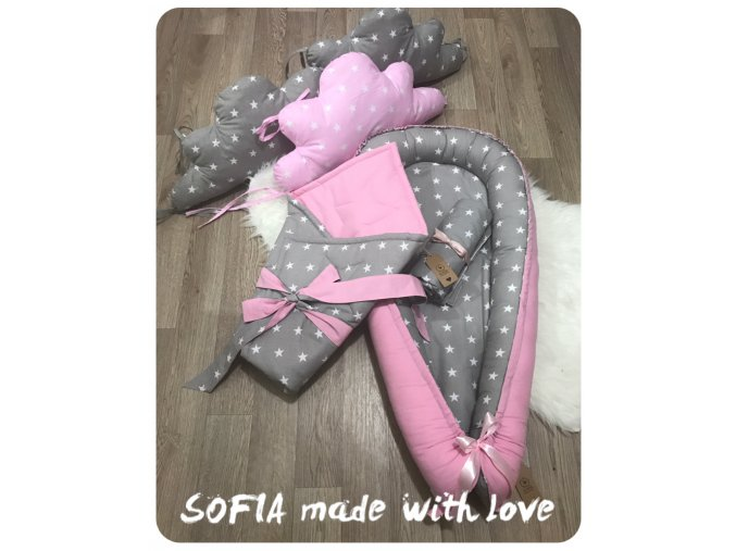 Set - růžová bavlna, šedá s bílou hvězdičkou