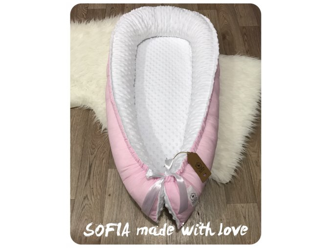 Hnízdečko - bílá minky, pudrově růžová bavlna