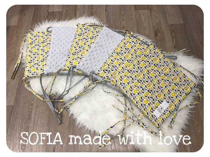 Mantinely molitanové - 2ks světle šedá minky, 4ks okrové květiny