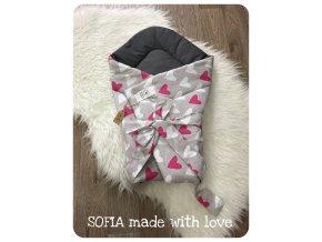 Zavinovačka - tmavě šedá bavlna, šedá s růžovými a bílými srdíčky