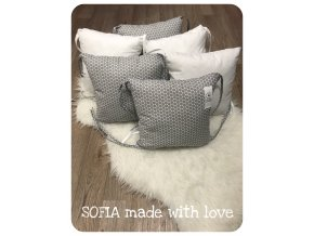Mantinely polštářkové - 3ks bílá bavlna, 3ks šedý hexagon