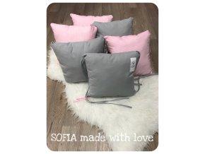 Mantinely polštářkové - světle šedá bavlna, pleteme hladce růžová