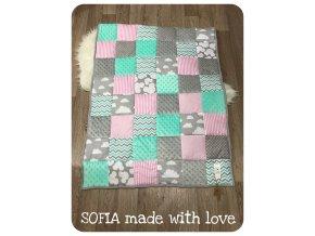 Patchworková deka - růžová, šedá, mint