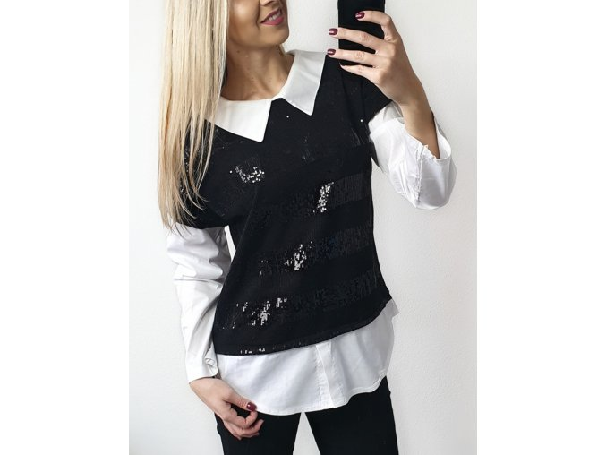 Damsky cierny glitrovy sveter s koselou sofyi