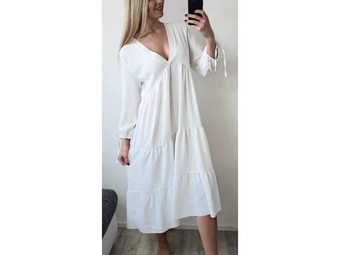 Dlhe volne letne biele elegantne saty sofyi