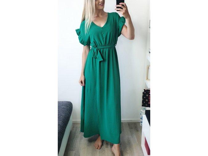 Dlhé elegantné zelené šaty s gombíkmi