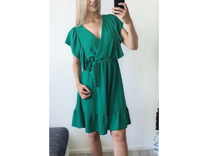 Zelené elegantné volánikové  šaty nad kolená