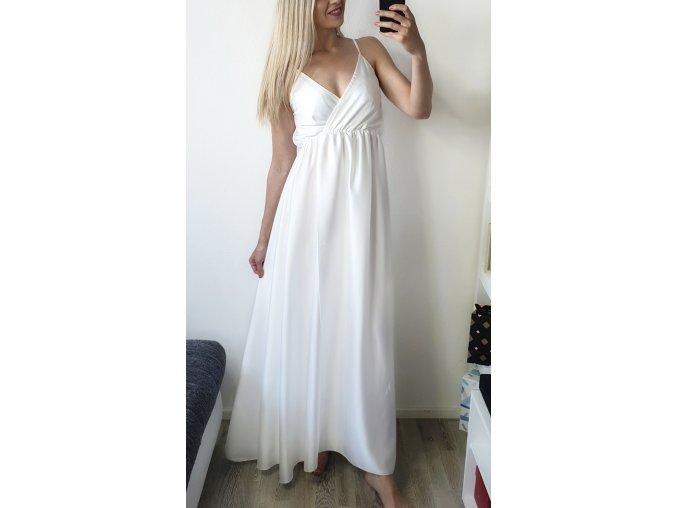 Biele elegantné saténové šaty