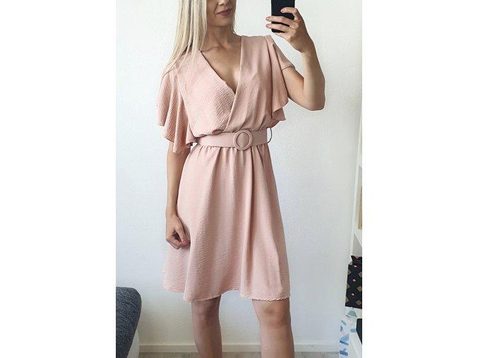Hnedé nude elegantné šaty nad kolená s opaskom