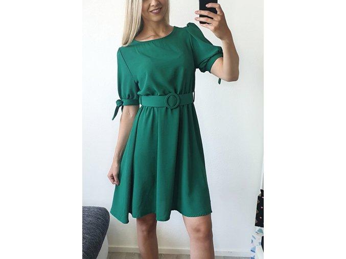 Zelené elegantné šaty s opaskom nad kolená
