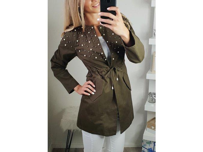 damska jesenna bunda s perlickami vojenska zelena khaki