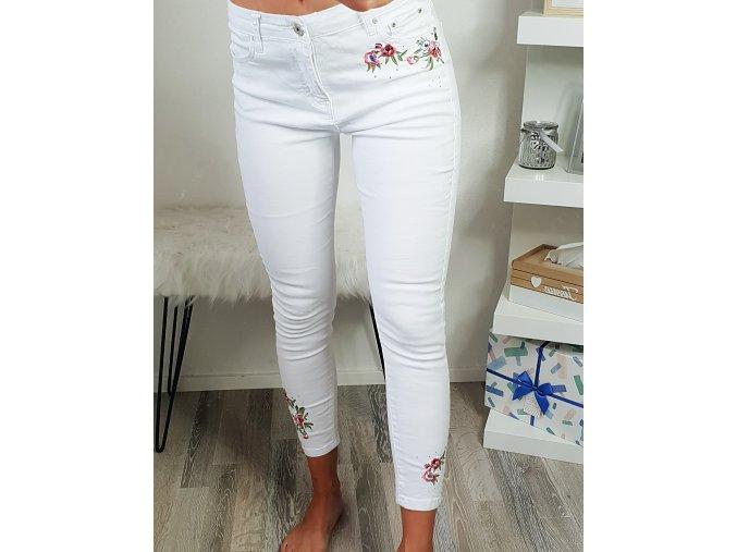 damske biele kvetinove trojstvrtove nohavice vysoky pas kamienky